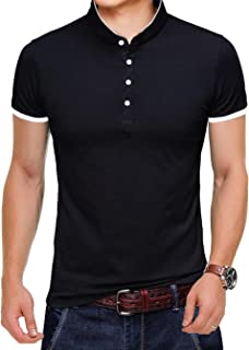 Men's Casual Slim Fit Shirts Pure Color Short Sleeve Polo Fashion T-Shirts