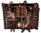 Frederick The Literate Cat - Charles Wysocki - Cotton Woven Blanket Throw - Made in The USA (72x54)