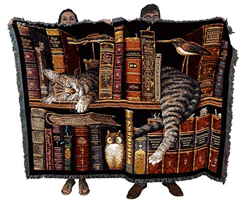 Frederick The Literate Cat - Charles Wysocki - Blanket Throw Woven from Cotton - Made in The USA (72x54)