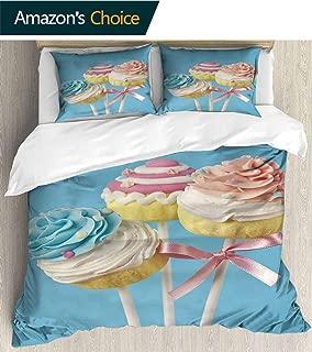 PRUNUSHOME 3 Piece Polyester Set Cupcake pops on Blue backgroun Soft Silky Full