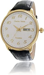 Charles Delon Mens Quartz Watch, Analog Display and Leather Strap 5704 GGSB