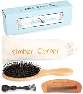 Amber Corner Boar Bristle Hairbrush with Detangling Comb, Brush Cleaner, for Women and Men - Professional, Wooden Paddle Brushes with Natural Bristles to Condition Hair - Premium Styling Tools Set