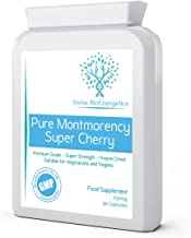 Pure Montmorency Super Cherry 750mg 90 Capsules - High Strength Freeze Dried - 100% Natural High Strength Freeze Dried Montmorency Cherries with No Additives - Manufactured in The UK