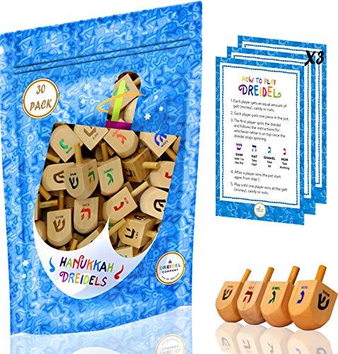 Wood Dreidels Hanukkah Draydel with English Transliteration & Instruction Cards! (30-Pack)