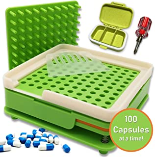 DAILY DELUX English Version #0 Capsule Holder with Tamper (Free Pill Box & Screwdriver), 100 Holes Tray for Size 0 Capsules, Filling Tools (Green #0)