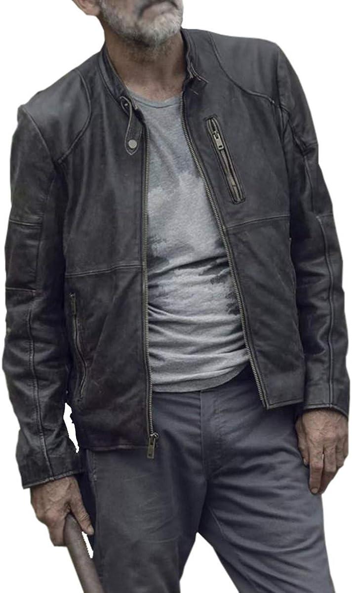 UGFashions Negan Walking Season 9 Jeffrey Dead Motorcycle Distressed Black Leather Jacket