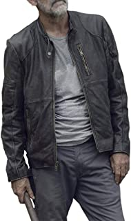 UGFashions Negan Walking Dead Season 9 Jeffrey Dean Morgan Motorcycle Distressed Black Leather Jacket