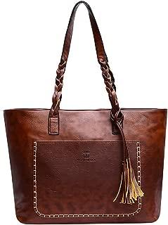 COAFIT Women's Tote Bag Tassel Decor Large Shoulder Bag Tote Handbag for Outdoor(Dark Brown)