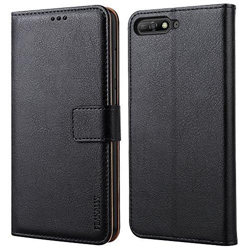 Peakally Handyhülle für Huawei Y6 2018 Hülle, Premium Leder Flip Case Tasche Schutzhülle Brieftasche Klapphülle [Kartenfächer] [Standfunktion] [Magnet] für Huawei Y6 2018-Schwarz