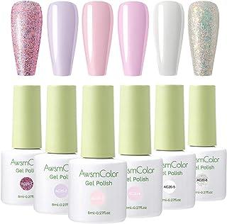 Nail Polish, AwsmColor Gel Nail Polish Set Soak Off Baby Pink White Glitters Nail Polish Kit 6 Colors 8ml UV LED Nail Art Gels Home DIY Manicure Nail Salon