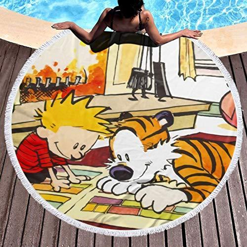 Calvin_and_Hobbes - Toalla de playa de microfibra para mujeres/niños/hombre, secado rápido, resistente a desgarros para niños y adultos, diámetro redondo de 132 cm