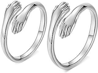 زوج من خواتم الفضة الإسترلينية 925، خاتم بيان الحب للنساء والرجال، خاتم فضة زوجين عناق خاتم الخطوبة هدية مجوهرات ، قابل لل...