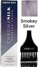 Pravana Chromasilk EXPRESS TONES Ammonia-Free 5 Minute Toning DEMI-PERMANENT Hair Color Dye (w/Sleek Tint Brush) Cream Haircolor Chroma Silk Quick Toning (SMOKEY SILVER)
