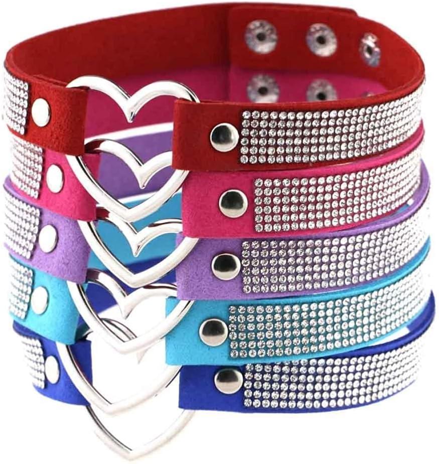 Black Leather Heart Rhinestone Choker Necklace Women Crystal Choker Statement Chocker Collar Fashion Jewellery