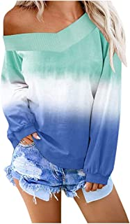 Women's Casual V-Neck Contrast Color Long Sleeve Top Blouse Pullover Sweatshirt