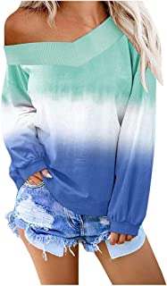 Women's Casual V-Neck Tops Cardigan Outwear Contrast Color Long Sleeve Blouse Pullover Sweatshirt Off Shoulder WEI MOLO