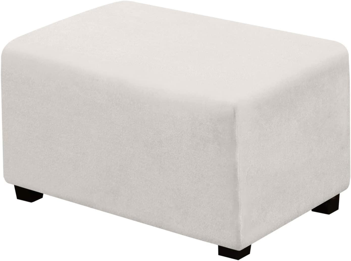 Suede Ottoman Cover Ottoman Slipcovers Removable Footstool Protector Velvet Plush 1 Piece Water Repellent Furniture Protector with Elastic Bottom, Machine Washable(Ottoman Large, Off White)