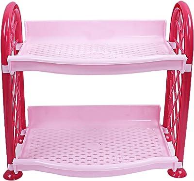 Kuber Industries Plastic 2 Layer Multipurpose Storage Rack (Pink) -CTLTC12579