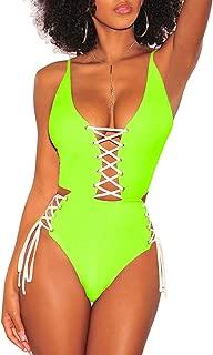 Women's Spaghetti Strap Criss Cross Lace Up One Piece Swimsuits Swimwear
