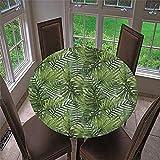 Chickwin Ronde Nappe de Table Élastique Ajustable, Imperméable, Couverture de Table Kitchen Extensible Protection Tables pour Restaurants, Pique-niques, Barbecues (Plantes Tropicales,120cm)