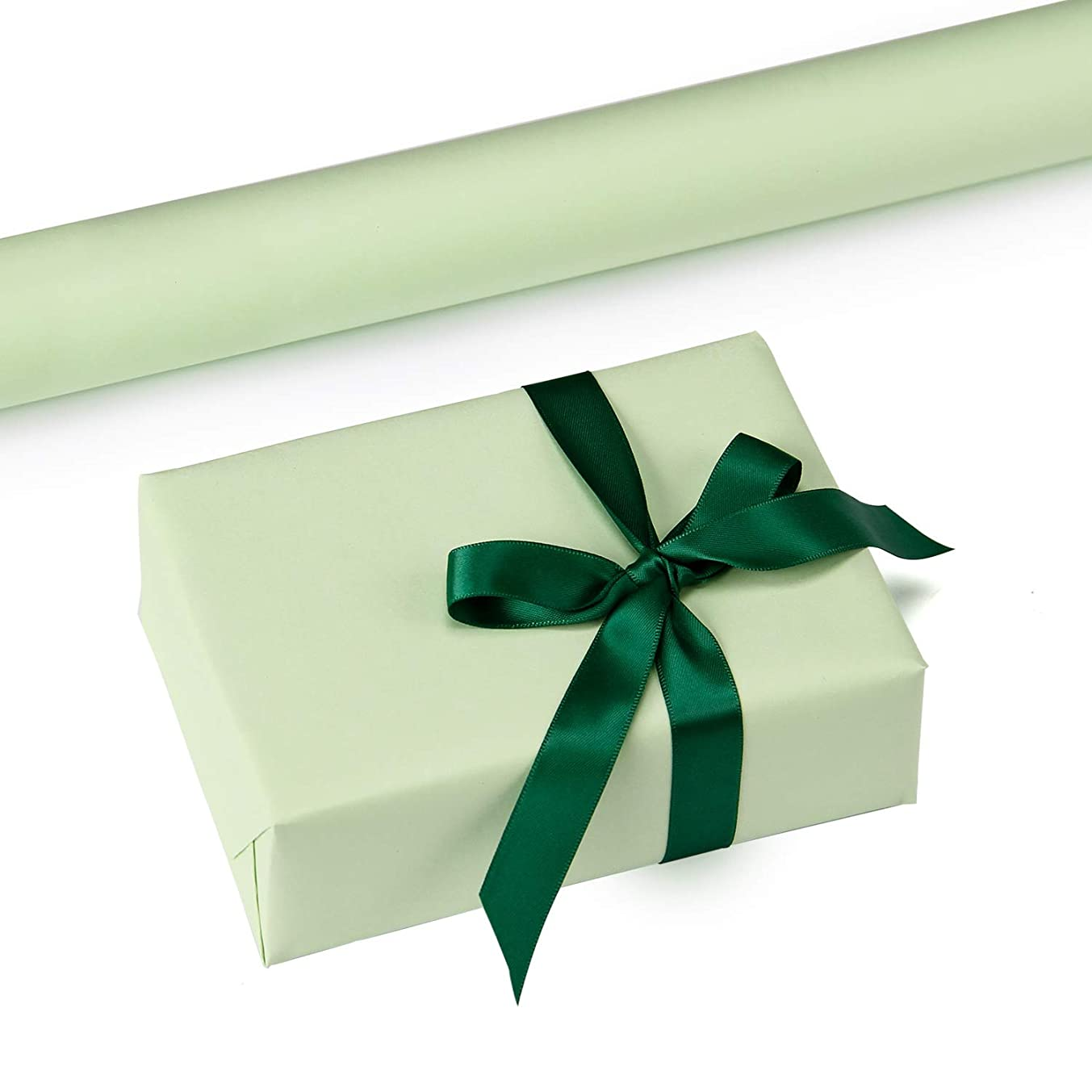 RUSPEPA Mint Kraft Wrapping Paper - 47.8 Sq Ft Heavyweight Paper for Wedding,Birthday, Shower, Congrats, and Holiday Gifts - 17.5Inch X 32.8Feet Per Roll
