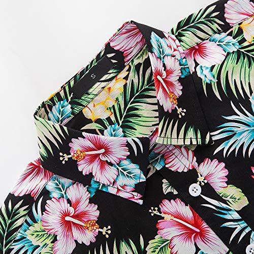 INFLATION Hawaiian Shirt for Men Short Sleeve Front Pocket Printed Short Sleeve Button Down Beach Shirt
