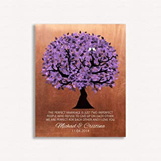 9.5 X 12 Metal Print 7 Year Anniversary Personalized Perfect Marriage Purple Tree Copper Gift for Her Gift for Him Custom Art Print on Paper, Canvas Metal #1479