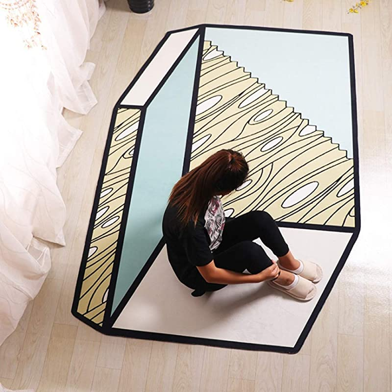 JIFAN Girl Room Art Carpet Creative Diamond Rug Child Activity Room 3D Space Carpet Household Soft Crystal Velvet Carpet Baby Non Slip Crawling Mat Easy Care For Study Office Kindergarten Nursery