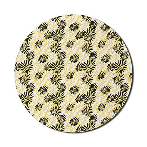 Tropisches Mauspad für Computer, exotische Palmblätter Hawaiian Paradise Beach Plant Naturgrafik, rundes rutschfestes dickes Gummi Modern Gaming Mousepad, 8 'rund, Senf-Anthrazit