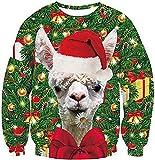 WANJIA Navidad manga larga camisetas cuello redondo divertido sudaderas unisex Navidad 3D suéter gráfico feo manga larga puentes letra impreso jersey tops,H, XXL