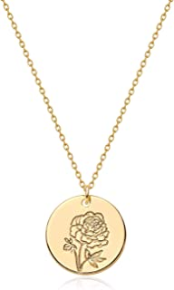 Fettero Birth Month Flower Necklace for Women Gold Disc Round Medal Pendant Engraved Floral 14K Gold Plated Minimalist Sim...
