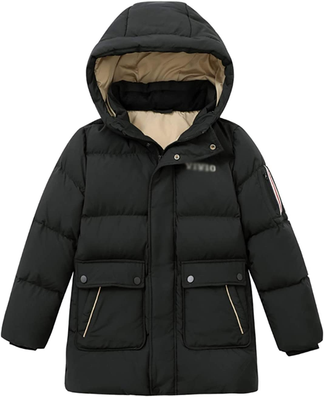 Warm Clothes Parkas Kids Puffer Jacket with Hood Quilt Lined Jacket Coat Full Zip Heavyweight Long Coats Universal (Color : Yellow|,| Size : XX-Large)