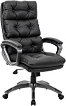 LCH High Back Office Chair - Ergonomic Tufted Bonded Leather Computer Desk Executive Chair, Adjustable Flip-Up Arms, Double Padded Backrest Seat Cushion 360 Degree Rotation, Black