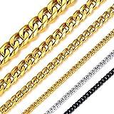 ChainsHouse 45cm 6mm 喜平 ネックレス チェーン メンズ ゴールド k18 ステンレス 金属アレルギー レディース アクセサリー