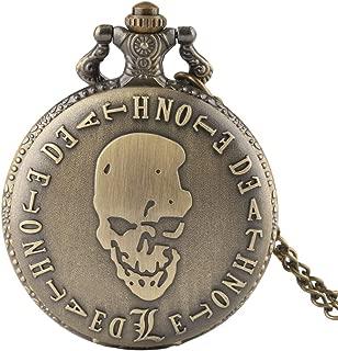 Men's Pocket Watch Death Note Theme Pendant Bronze Quartz Pocket Watch Gifts for Men