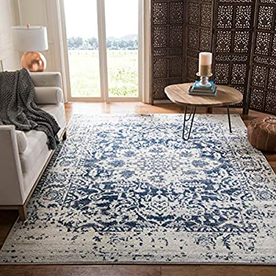Safavieh Madison Collection MAD603D Vintage Snowflake Medallion Distressed Area Rug, 10' x 14', Cream/Navy
