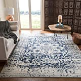 Safavieh Madison Collection MAD603D Vintage Snowflake Medallion Distressed Area Rug, 4' x 6', Cream/Navy