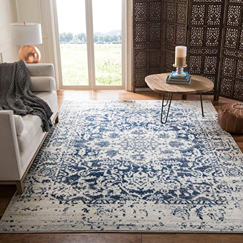 Safavieh Madison Collection MAD603D Cream and Navy Distressed Medallion Area Rug (5' Square)