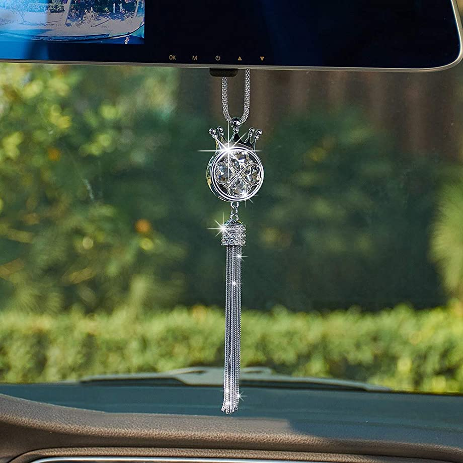 UR URLIFEHALL Crystal Crown Car Hanging Ornament Car Rear View Mirror Pendant Car Accessories Home Decor (White)