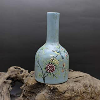 LISAY Jingdezhen Antique Ceramic Mini Blue Vase Floret Bottle Japanese Flower-vases-Wholesale Creative Home Furnishing Articles (Color : Bell vase x 1)
