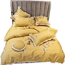 The New Material Cotton Satin Embroidered Small Fresh Garden Style Yellow Floral White Lace Seven Sets Of Bedding Bed Line...