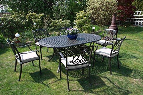 Made for us® Alu Garten-Möbel Set, Aluguss Gartenmöbelgarnitur, Terassen-Sitzgruppe bestehend aus Gartentisch 182 x 106 cm und Gartenstühlen, original Made for us (Gartentisch + 6 Gartenstühle)