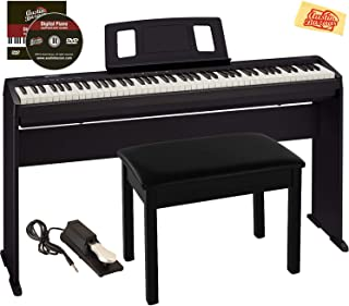 Roland FP-10 Digital Piano Bundle with Stand, Furniture Style Bench, Sustain Pedal, Online Lessons, Instructional DVD, and Austin Bazaar Polishing Cloth