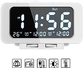 Smises Alarm Clock Radio - FM Radio, Dual USB Port for Charging, Temperature Display, Dual Alarms, 5 Level Brightness Dimmer, Adjustable Alarm Volume, Sleep Timer for Bedrooms - White