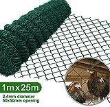 Amagabeli 1M x 25M Grillage Jardin Fil 50 x 50 mm Grillage Simple Torsion Vert Métallique Grillage Cloture Jardin en Acier et PVC RAL6005 HC03