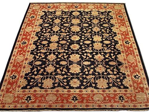 Pak Persian Rugs Handgeknüpfter Ushak Teppich, Schwarz, Wolle, Large, 355 X 405 cm