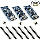 HiLetgo 3個セット Mini USB Nano V3.0 ATmega328P CH340G 5V 16M マイクロコントローラーボード Arduinoと互換