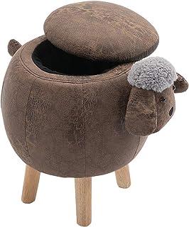 Petits poufs et ottomanes de rangement, repose-pieds en forme d'animal avec bouton, décoration européenne pour canapé, tab...