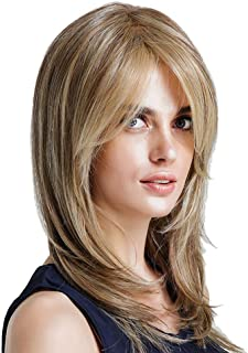 Short Bob Lace Front Wigs for Women, Hamkaw 12 Inches Ombre Ash Brown Synthetic Hair Wigs -Pre Plucked Hairline Natural Looking & Heat Resistant Middle Part Glueless Hair Extensions