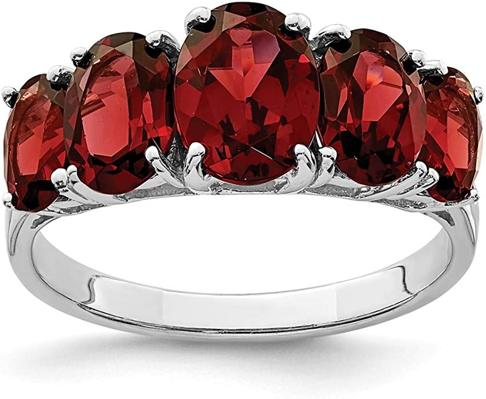 925 Sterling Silver Red Garnet Band Jew New color Now on sale Fine Stone Gemstone Ring